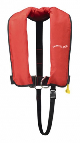 Waveline 165N ISO Red Auto Harness LifeJacket With Crutch Strap.